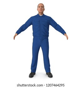 Mechanic Worker Wearing Blue Overalls Standing Pose. 3D Illustration