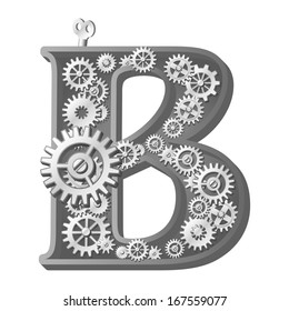 Black White Floral Abc Letter B Stock Illustration Royalty Free