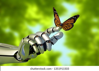 The mechanical arm and a butterfly.3d render