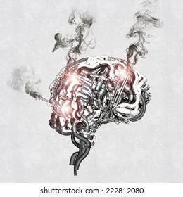 A mechanical brain burns out under the stress