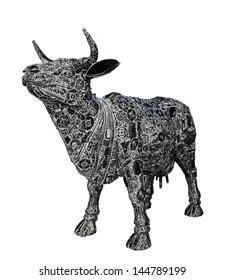 Mechanical buffalo graphic on white background