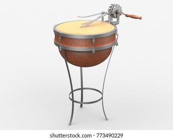 Mechanical drum, Leonardo da Vinci, Codex Atlanticus 0984r. 3D model.