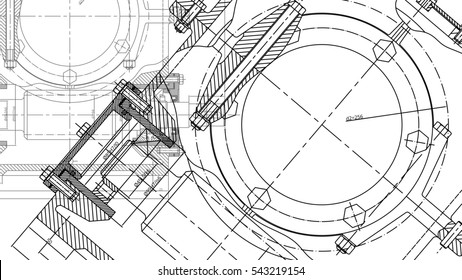 Mechanical Engineering drawing. Engineering Drawing Background. Raster version.