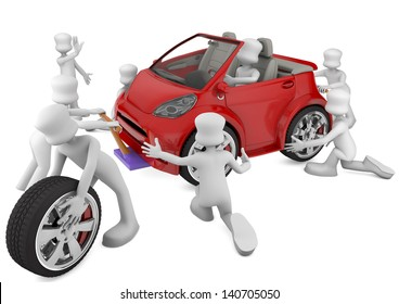 mechanical fixing a red car. 3d rendered image