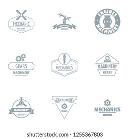 Mechanical gear logo set. Simple set of 9 mechanical gear logo for web isolated on white background
