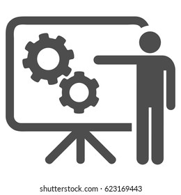 Mechanical Gears Project Board raster icon. Illustration style is a flat iconic grey symbol on a white background.