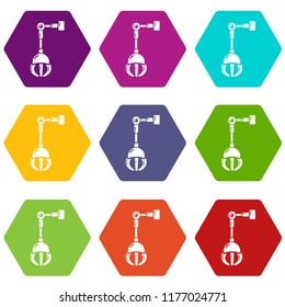 Mechanical grabber icons 9 set coloful isolated on white for web