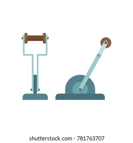 Mechanical lever, flat icon, machine part on white background