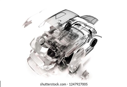 Mechanical parts that make up the car, exploded draw, 3d illustration