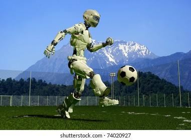 A mechanical robot ran on the green grass.