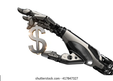 Mechanical robotic arm holding currency symbol of dollar with fingers.Image isolated on white background for business website design.