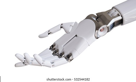 Mechanical Robotic Hand Isolated on White Background 3d Illustration