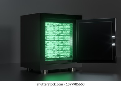 Mechanical safe, with digital numbers inside, 3d rendering. Computer digital drawing.