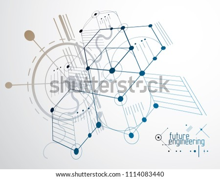 Mechanical Scheme Engineering Drawing Circles Hexagons Stock