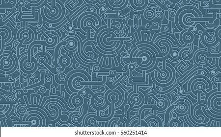 Mechanical Seamless Background Texture Pattern Isolated on Blue Background. Steam punk. 3D effect