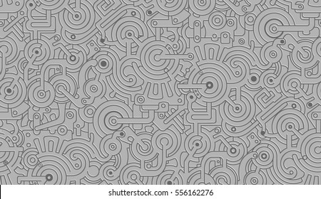 Mechanical Seamless Texture Pattern Isolated on Gray Background. Steam punk. 3D effect