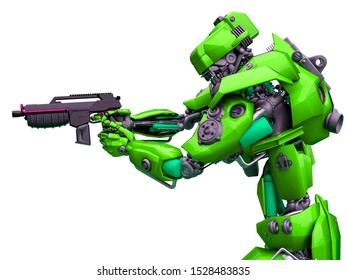mechanical soldier aiming the pistol, 3d illustration