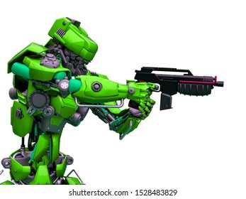 mechanical soldier aiming the pistol close up, 3d illustration
