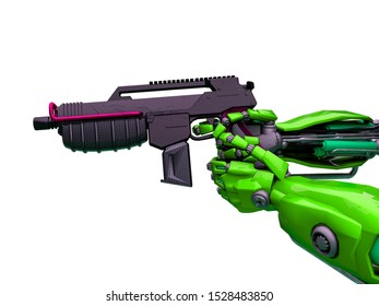 mechanical soldier aiming the pistol close up in the hands, 3d illustration