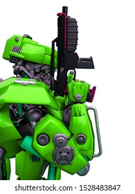 mechanical soldier holding a gun close up, 3d illustration