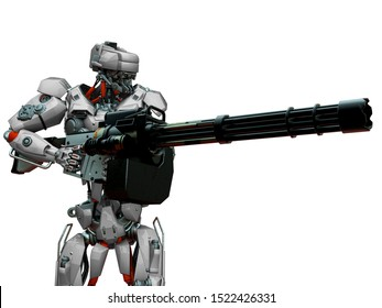 mechanical soldier holding a machine gun, 3d illustration