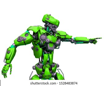 mechanical soldier pointing the direction, 3d illustration