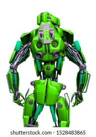 mechanical soldier rear view, 3d illustration