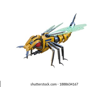 Mechanical wasp, high resolution image isolated on white background. 3d rendering, 3d illustration.