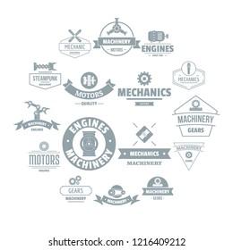 Mechanics logo icons set. Simple illustration of 16 mechanics logo icons for web