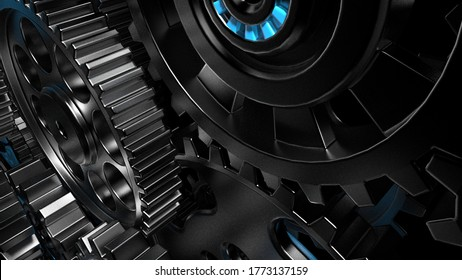 Mechanism black gears and cogs at work on spot light background. Industrial machinery. 3D illustration. 3D high quality rendering.
