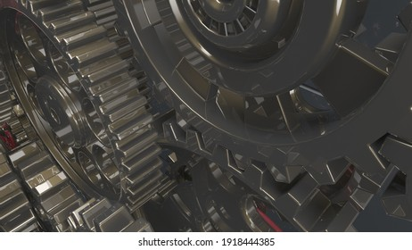 Mechanism black-red gears and cogs at work on spot light background. Industrial machinery. 3D illustration. 3D high quality rendering. 3D CG.