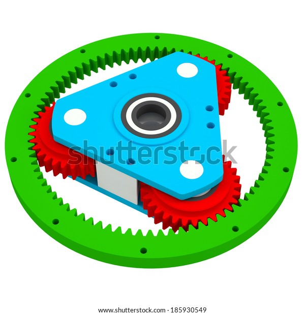 Mechanism of colored gears. Isolated render on a white background