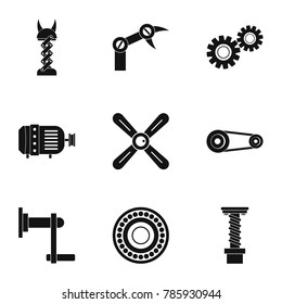 Mechanism parts icon set. Simple style set of 9 mechanism parts  icons for web isolated on white background