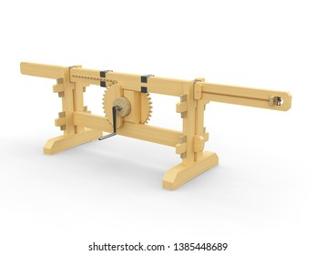 A mechanism used to change the rotational movement to a linear motion.  3D model.