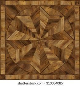 Medallion design grunge parquet floor, wooden seamless texture for 3D interior
