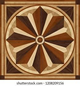 Medallion design parquet floor, wooden texture, seamless wooden design intarsia lumber