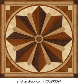 Medallion design parquet floor, wooden texture for 3D interior