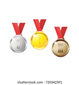 Medals gold silver bronze copper on a red ribbon isolated on white background, medal