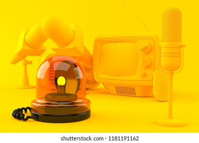 Media background with emergency siren in orange color. 3d illustration