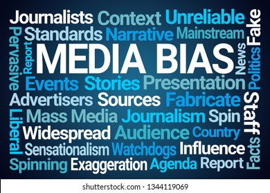 Media Bias Word Cloud on Blue Background