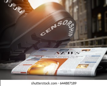 Media censorship and right of freedom of speech concept. Boot with text censorship  and pile of newspaper. 3d illustration.