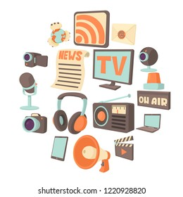 Media communications icons set. Cartoon illustration of 16 media communications icons for web