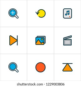 Media icons colored line set with search, top, replay and other eject elements. Isolated  illustration media icons.