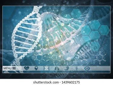 Media medicine background image as DNA research concept