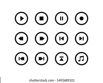 Media navigation button flat icons.