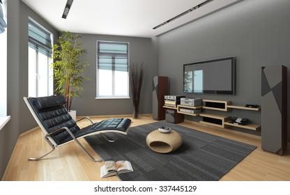 Media Room 3d Rendering