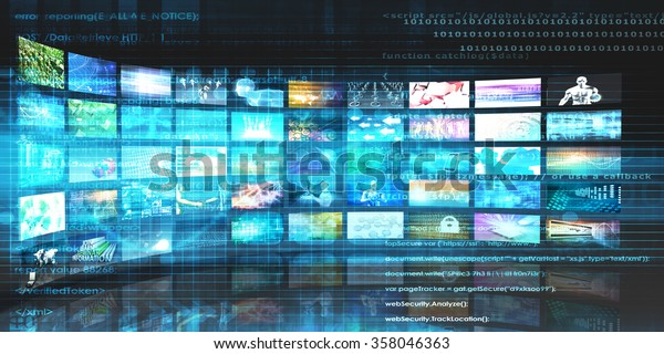 Media Technologies Concept Video Wall Background Stock Illustration