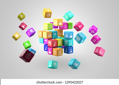 Media technology and internet networking web communication concept- Colorful icon cubes. 3D illustration