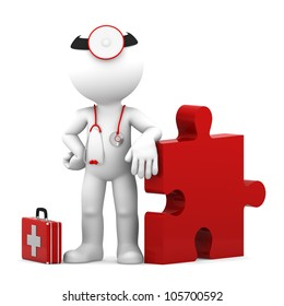 Medic with piece of puzzle. Conceptual medical illustration. Isolated