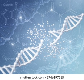 Antecedentes conceptuales abstractos médicos, cadena de código de ADN afectada por enfermedades genéticas y cambios peligrosos, desconexión, función alterada, renderización 3D